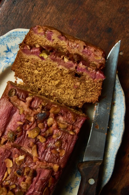 Rhubarb Ginger Cake Sliced RT
